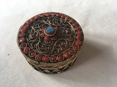 Vintage Coral and Turquoise Brass Box