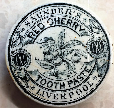 Rare Liverpool  Pictoriall Pot Lid Saunder's Red Cherry Toothpaste
