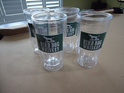 Set of 4 New Bird Dog Whiskey Plastic Cup Tumblers