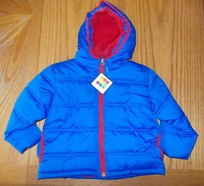Boys Size 2T Healthtex Brand Blue & Red Hooded Zip-Up Puffer Coat NWT