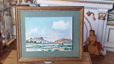 Native American Artist Robert Draper Signed Painting In Miniature 1:12 Dollhouse