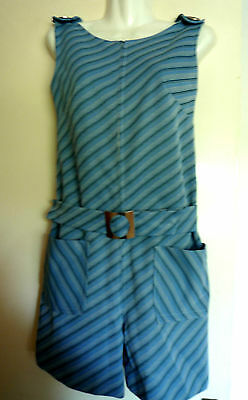 Funky 60s REPRO light blue stripe zip-up Playsuit, VINTAGE FABRIC MOD