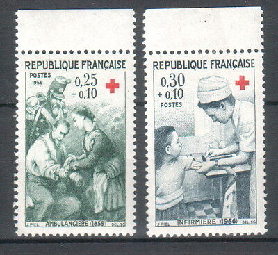 France 1966 Red Cross 2 MNH stamps