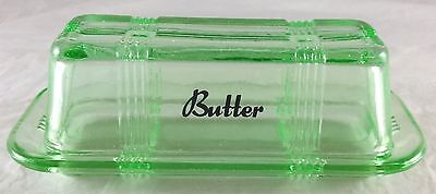 Emerald Green Glass Criss Cross Pattern 1/4 Lb Butter Dish With Black Writing