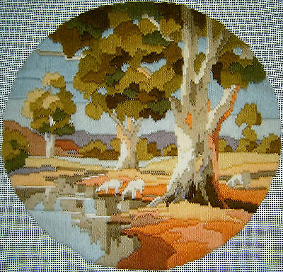 """SEMCO Long Stitch """"Afternoon Reflectio"""" Hand Stitched Embroidery Craft Tapestry"""