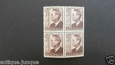 1950 Aust.  Block of 4 mint (MNH)  stamps  - 2.5 pence  Brown King George VI