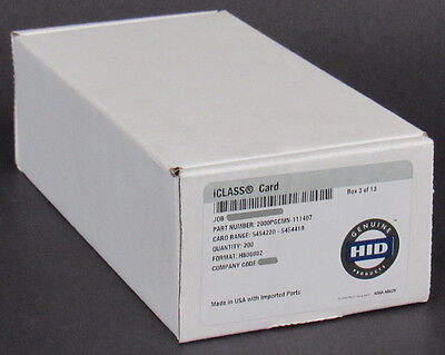 NEW 50-PACK 100% Genuine OEM HID iClass Contactless Smart Cards 13.56 MHz 2k bit