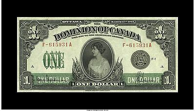 Dominion Of Canada  1917 $1, One Dollar  -Princess Particia -Banknote Choice AU