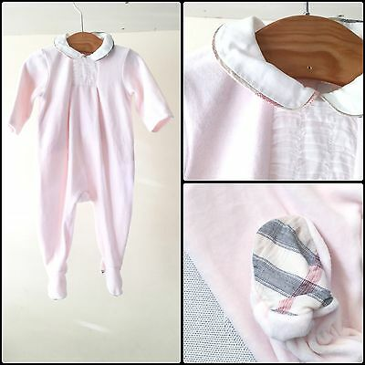 Designer Burberry Baby Girls Pink Babygrow Playsuit Sleepsuit Outfit 6 M