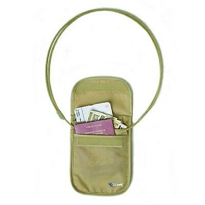 Genuine Pacsafe Coversafe Tan Secure Neck Pouch Travel Security Passport Wallet
