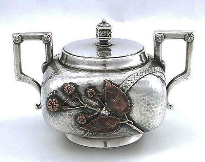 Gorham Sterling and MIXED METAL Covered Sugar Bowl Japanesque