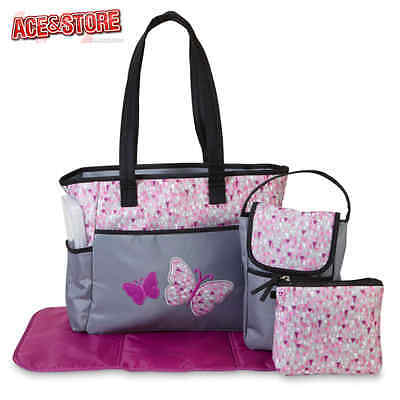5Pc Baby Girl Diaper Bag Set Butterfly Insulated Bottle Tote Changing Pad Pouch