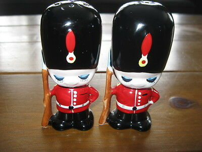 Early Enesco Hand Painted English Royal Guards Salt & Pepper Shakers