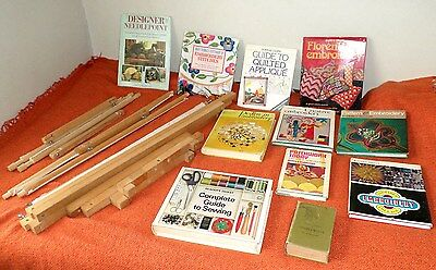 Needlework Stitching Embroidery Books Wooden Tapestry Frame Bundle