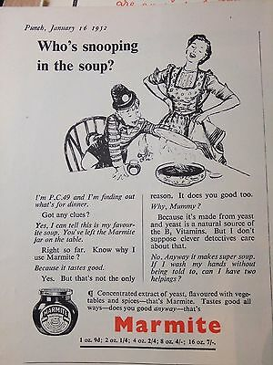 1952 Advert....marmite....who's Snooping In The Soup!