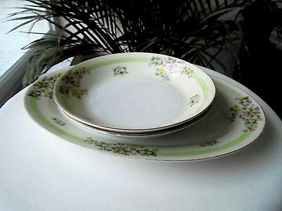 Set of Oval Platter and Two Serving Bowls Made in Japan c 1940's