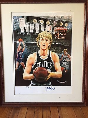 Forever Larry Bird Celtics Autographed Color Lithograph
