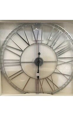 Large  Silver Glass Wall Clock Kitchen Living Room Dining