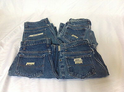#60 Lot of 4 Pairs Work Jeans 28x28 100% Cotton Denim Made in USA GUC