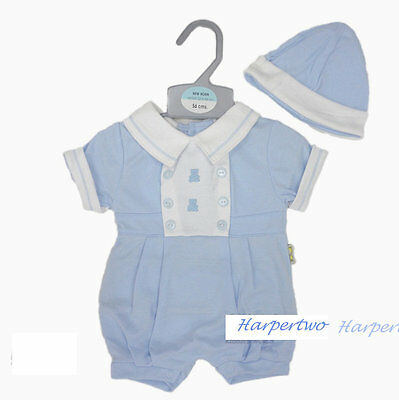 Baby Boys Playsuit hat all in one Romper Teddy Summer Outfit Set Sky NB 0-3 M