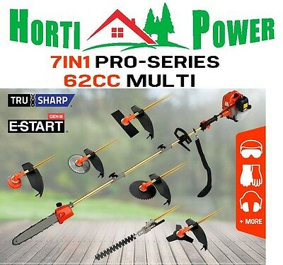 Garden Tool 62Cc 7In1 Multitool Chainsaw Brushcutter Hedge Trimmer +2 Extns..