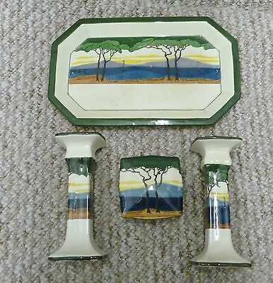 Royal Doulton D3255 Trees 4 Piece Dressing Table Wash Set Seriesware 1905-1930