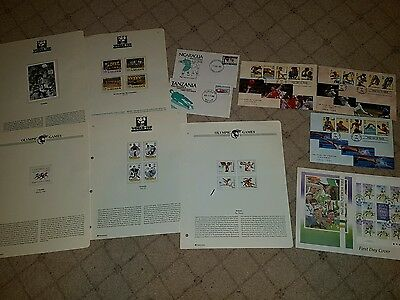 sports and football thematics stamps sheets and FDCs