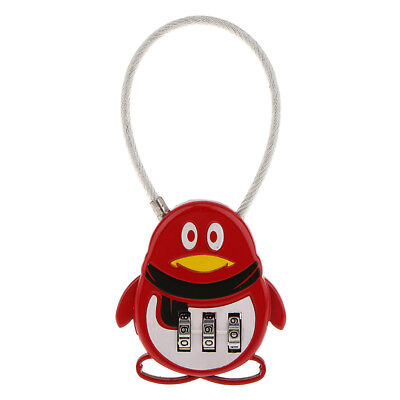 Red Penguin 3 Dial Combination Password Secure Padlock Luggage Suitcase Lock