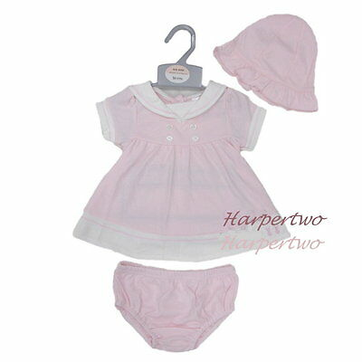 Cute Baby Girl Summer Pink Soft Outfit Sailor Dress Hat Knickers 3pc Set NB 0-6M