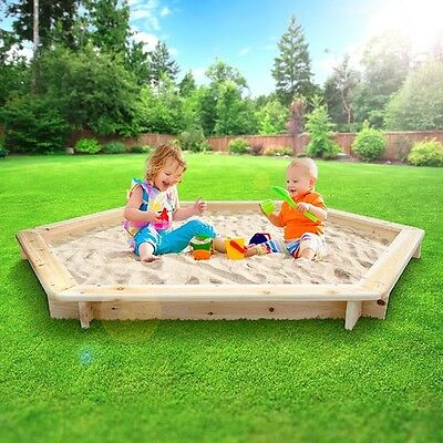 Wooden Sand Pit Box Kids Outdoor Childrens Fun Toy Garden Outside Wood Play