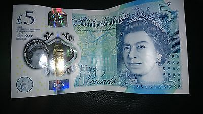 NEW UK £5 POUND POLYMER PLASTIC NOTE EXTREMELY RARE MISPRINT serial number AK07