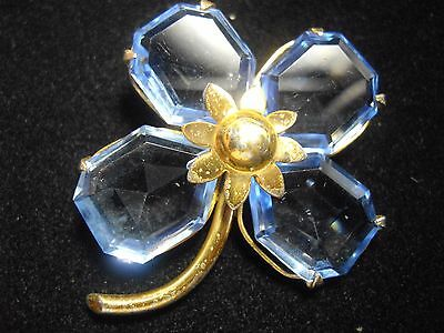 Vintage Sterling Silver blue flower gold gilt brooch pin four leaf clover