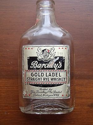 Vintage BARCLAY'S GOLD LABEL Rye Whiskey Miniature Bottle