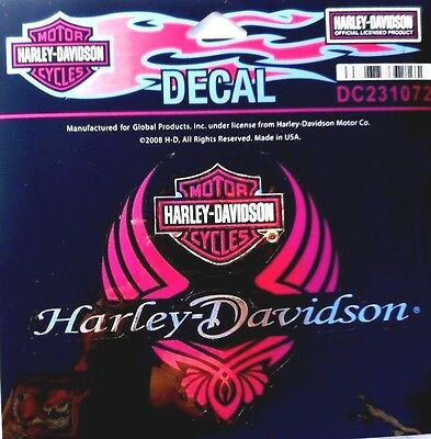 Harley Davidson Ladies  Bar And Shield Diva Wings  Sticker  Pink Decal 2pc set