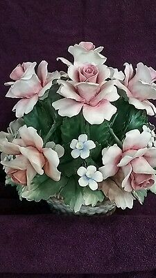 Capodimonte Porcelain Flower Basket Large Tabletop Bouquet Centerpiece