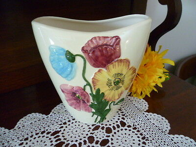 AUSTRALIAN STUDIO POTTERY VASE hand painted FLORAL DECORATED DIANA artist signed