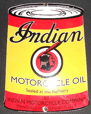 Indian Motorcycle Gasoline porcelain gas pump plate lubester Very NICE