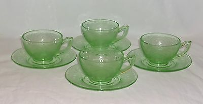 4 Indiana No 612* HORSESHOE GREEN *CUPS & SAUCERS*