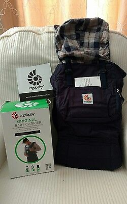 New with box Ergo Baby Carrier in Blue Plaid hood