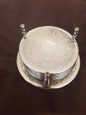 Set of Six Strachan 8.5cm Silver Plate Coasters with holder Vintage Retro EPNS