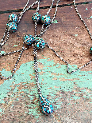 Vintage Art Deco 1920's Mosaic TURQUOISE Sterling SILVER  NECKLACE Inlaid TESSER