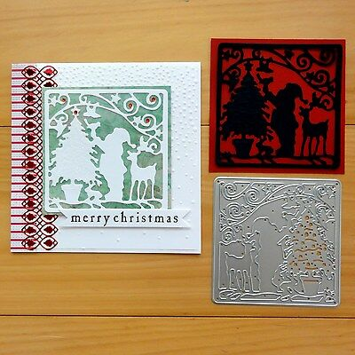 Shopaperartz CUTTING DIE SANTA & CHRISTMAS TREE SCENE FITS SIZZIX CUTTLEBUG