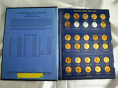 (62) Lincoln Penny Collection Showcased in Album | 1941-1963 BU MS | 6496