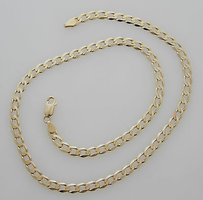 9Ct 375 Solid Yellow Gold Curb Chain Necklace 20.4 Inches Ladies Mens
