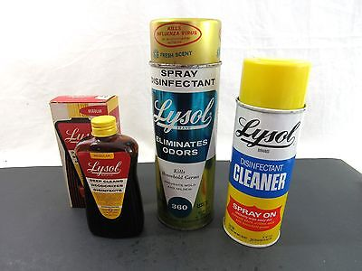 Vtg Lysol 360 Cleaner Disinfectant Lehn Fink Spray Can Amber Glass Bottle Lot