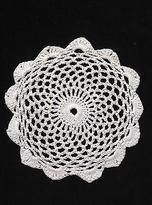 "Handmade 4.5"" 11cm white vintage doilie doily doiley crochet lace round"