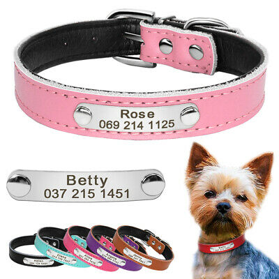 Leather Custom Dog Collars Personalized Pet Cat Puppy Collar Engraved Name Free