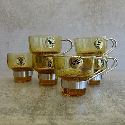 6 Mid Century Lavorato A Mano Demitasse Coffee Cups Made in Italy Amber Glass