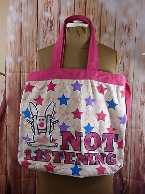 Jim Benton Happy Bunny Not Listening Tote Bag Purse Beach Shopping Overnight