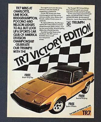 1977 Triumph TR7 Victory Edition Original Advertisement Color Car AD Racing